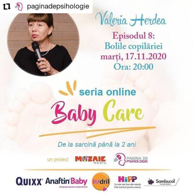 Astăzi, de la ora 20, suntem live pe pagina de Facebook @paginadepsihologie pentru ultimul episod #BabyCare cu dr. Valeria Herdea, medic primar de medicină generală și medicină de familie cu profil pediatrie. Doamna doctor va povesti despre bolile copilăriei.  Vă invităm să fiți alături de noi! ☺️ _____ #sambucol #sambucolromania #sambucolro #sistemimunitar #sistemimunitarputernic #imunitate #imunitatecopii #imunitatecrescuta #imunitateafamiliei #sambucolkids #paginadepsihologie #imunitateacopiilor #bolilecopilariei #romania